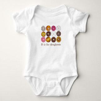 Body Para Bebê D é para a comida de pequeno almoço da rosquinha