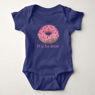 Body Para Bebê D é para a filhós do fosco do rosa da rosquinha