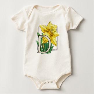 Body Para Bebê D para a roupa do bebê do monograma da flor do