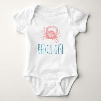 """Body Para Bebê Da """"menina náutica praia"""" com caranguejo"""