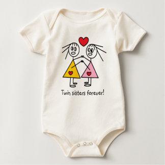 Body Para Bebê Das irmãs figuras gêmeas adoráveis da vara da