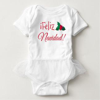 "Body Para Bebê De ""Bodysuit do bebê do tutu Feliz Navidad"""