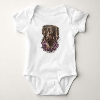 Body Para Bebê Desenho da arte do cão e dos lírios do Dachshund