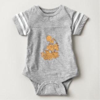 Body Para Bebê Desenho da lua do navio de navigação de Caravel