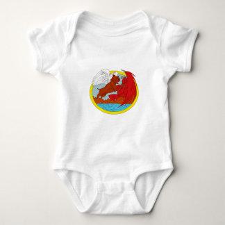 Body Para Bebê Desenho de combate da satã do cão americano da