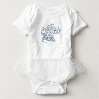 Body Para Bebê Desenho de combate do astronauta do polvo gigante