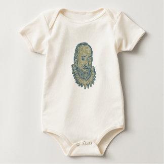 Body Para Bebê Desenho do busto do senhor Walter Raleigh