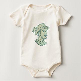 Body Para Bebê Desenho do explorador de Juan Ponce de Leon