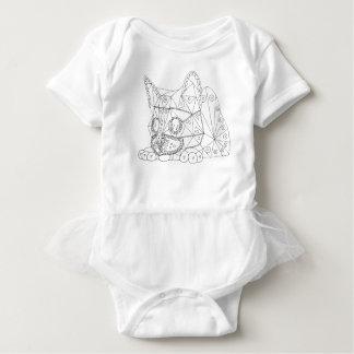 Body Para Bebê Desenho do gato ilusório para colorir