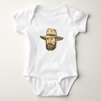 Body Para Bebê Desenho farpado da cabeça do vaqueiro