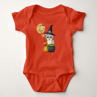 Body Para Bebê Desenhos animados cinzentos do Dia das Bruxas do