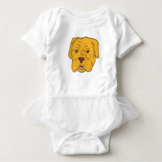 Body Para Bebê Desenhos animados da cabeça de cão do Bordéus