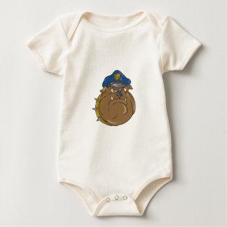 Body Para Bebê Desenhos animados da cabeça do polícia do buldogue