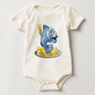 Body Para Bebê Desenhos animados do peixe com batatas fritas