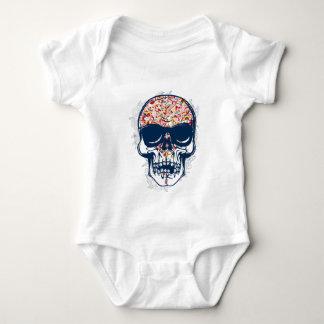 Body Para Bebê design colorido do crânio zombi inoperante