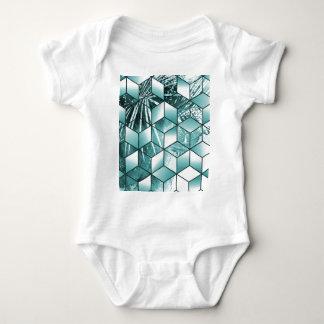 Body Para Bebê Design cúbico tropical das folhas de palmeira do