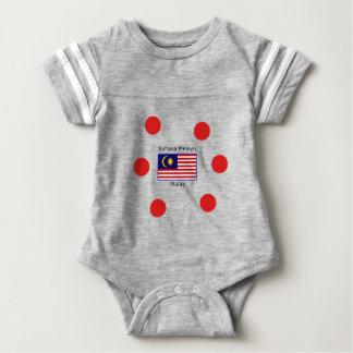Body Para Bebê Design da língua da bandeira e do Malay de