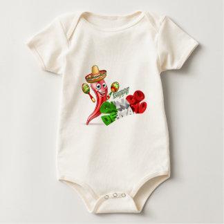 Body Para Bebê Design da pimenta de Cinco De Mayo