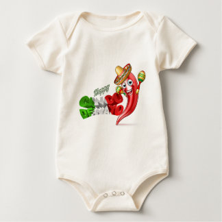 Body Para Bebê Design da pimenta de Cinco De Mayo do mexicano