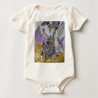 Body Para Bebê Design dos cobras e da mulher do pássaro