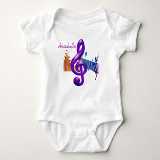 Body Para Bebê Design elegante roxo do Clef de triplo -