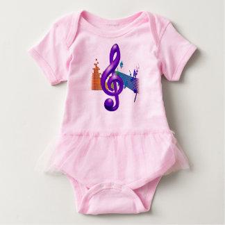 Body Para Bebê Design elegante roxo do Clef de triplo
