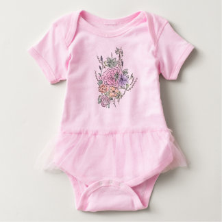 Body Para Bebê design floral do estilo da aguarela
