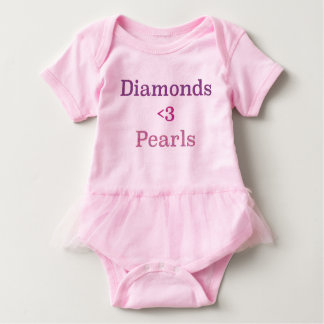 Body Para Bebê Diamantes & tutu das pérolas
