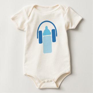 Body Para Bebê DJ júnior - Fones de ouvido e ícone da garrafa