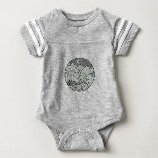 Body Para Bebê Do círculo tocante do Brontosaurus do astronauta