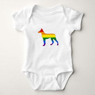 Body Para Bebê Doberman do arco-íris