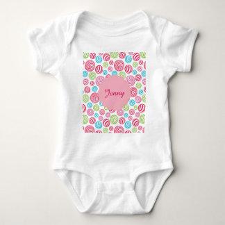 Body Para Bebê Doces listrados engraçados em cores pastel