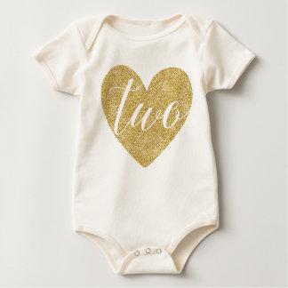 Body Para Bebê Dois anos de Coração-Impressão velho do brilho de