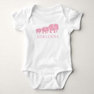 Body Para Bebê Elefantes cor-de-rosa personalizados bebé da