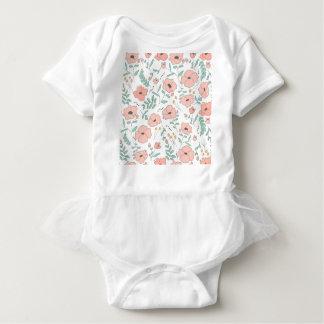 Body Para Bebê Elegant seamless pattern with flowers, vector illu
