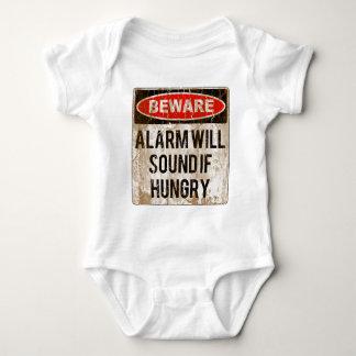 Body Para Bebê Engraçado Beware o alarme soará se com fome