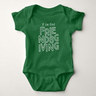 """Body Para Bebê Equipamento de Friendsgiving do bebê """"F é para"""""""