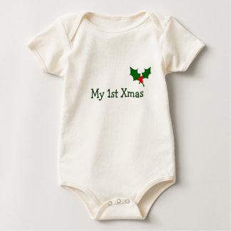 Body Para Bebê Equipamento do Natal do bebê primeiro com azevinho