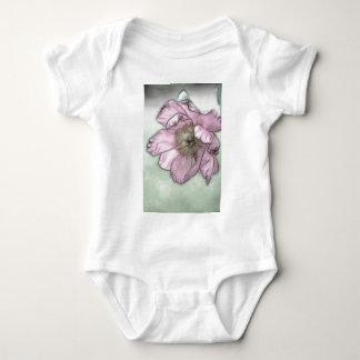 Body Para Bebê Esboço cor-de-rosa da flor da peônia