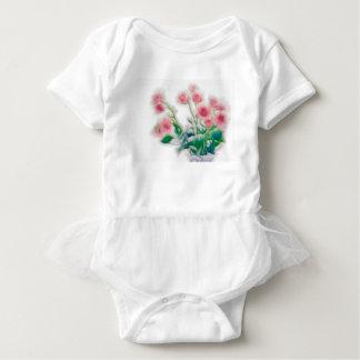 Body Para Bebê Esboço do buquê cor-de-rosa