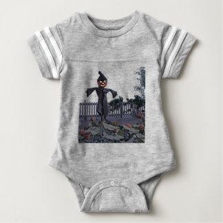 Body Para Bebê Espantalho de Jack O em um remendo da abóbora