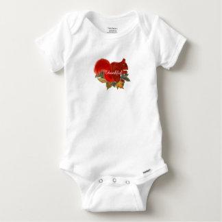 Body Para Bebê Esquilo vermelho bonito rústico da queda grata