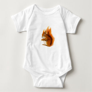 Body Para Bebê Esquilo vermelho pintado na arte dos animais