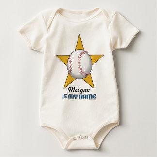 Body Para Bebê Estrela de basebol personalizada da criança