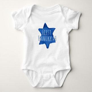 Body Para Bebê Estrela de David azul da aguarela com texto