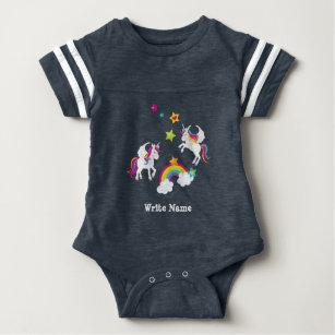 Body Para Bebê Estrelas do arco-íris do unicórnio. Bebê do conto