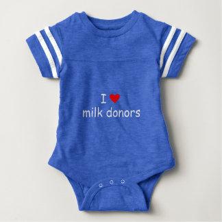 Body Para Bebê Eu amo a escrita branca dos doadores do leite com