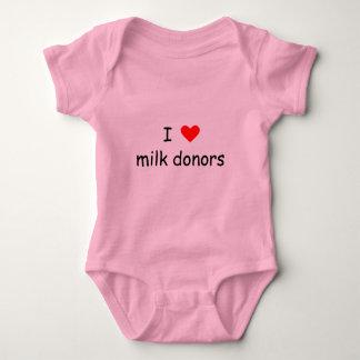 Body Para Bebê Eu amo a escrita preta dos doadores do leite com