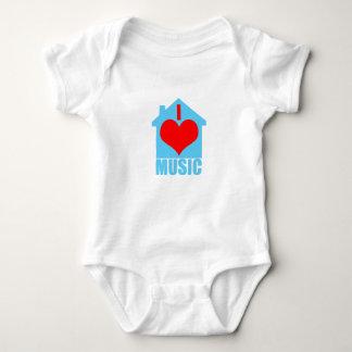Body Para Bebê Eu amo a música da casa - casa do coração