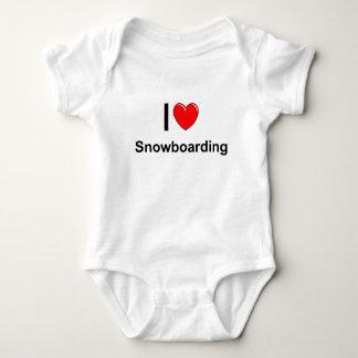 Body Para Bebê Eu amo a snowboarding do coração